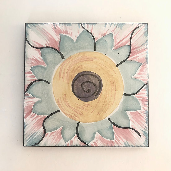 "6"" Square Light Dahlia Decorative Ceramic Tile A1"