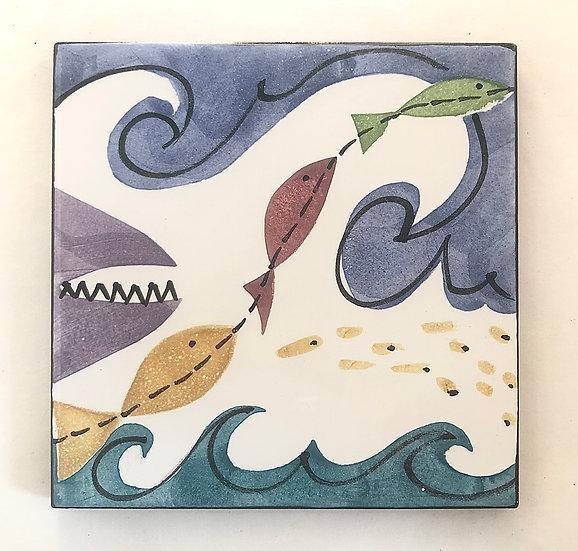 "6"" Square Minnows and Shark Decorative Ceramic Tile A3"