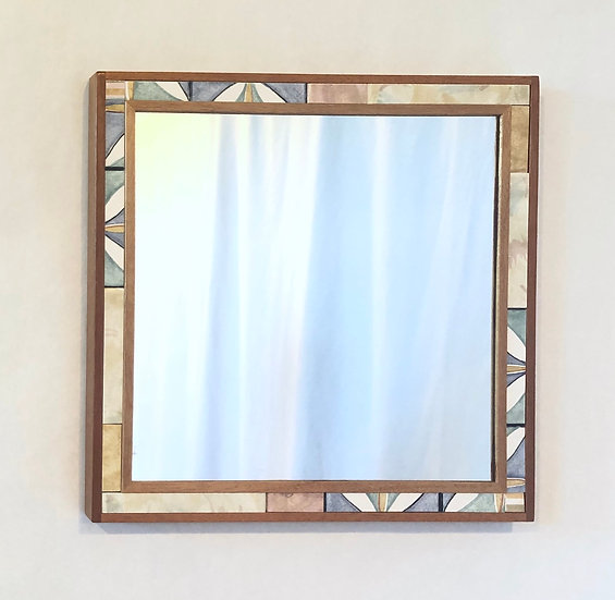 "16 1/4"" Square Abstract Ceramic Tile & Wood Mirror"