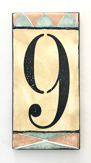 "3"" x 6"" Deep Gold House Number ""9"""