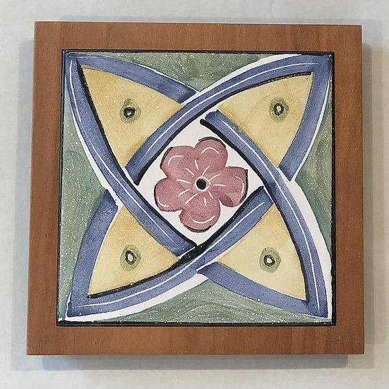 Celtic Floral Tile and Wood Frame