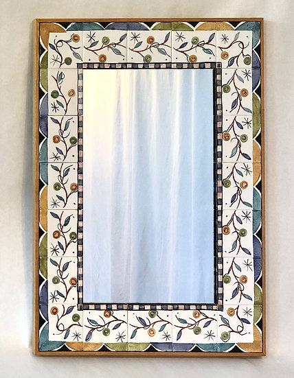 "22"" x 30 1/2"" Floral Vine Ceramic Tile and Wood Mirror"