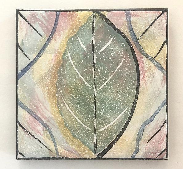 """4 1/4"""" Muted Green Leaf Decorative Ceramic Tile A3"""