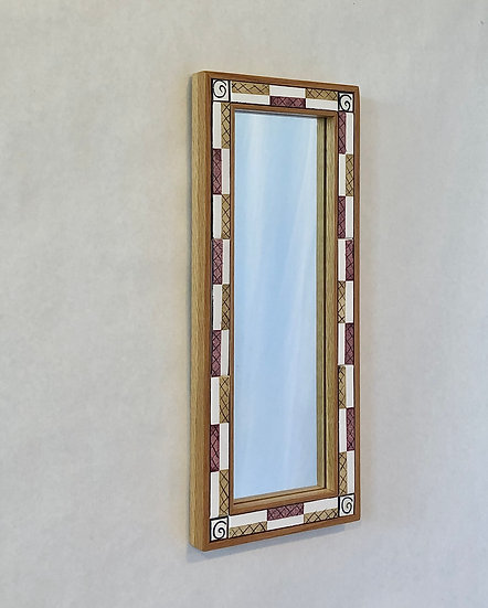 """8 1/2"""" x 20 1/2"""" Criss Cross Ceramic Tile and Wood Mirror"""