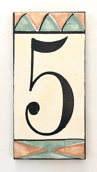 "3"" x 6"" Pale Yellow House Number ""5"""