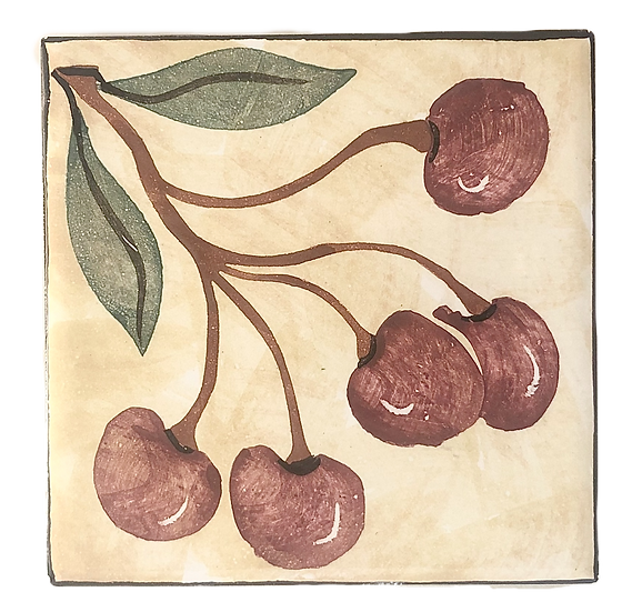 "4 1/4"" Cherries Decorative Ceramic Tile A7"