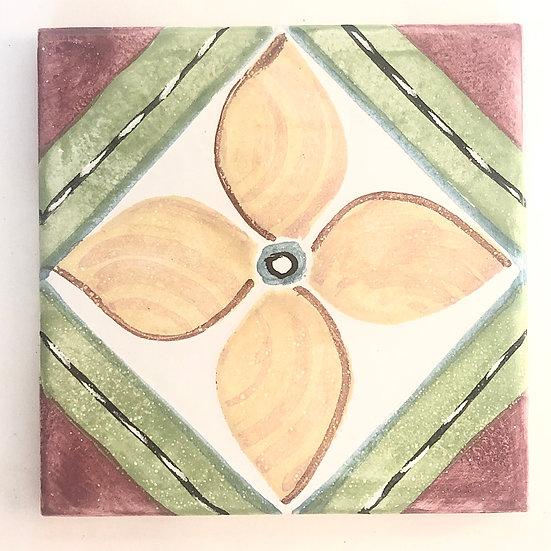 "4 1/4"" Yellow Flower Decorative Ceramic Tile A5"