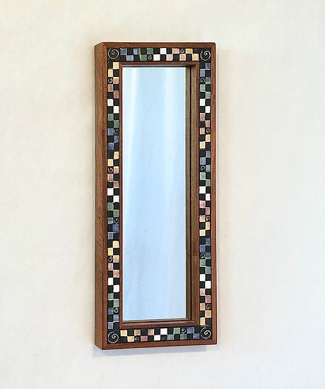 """8 3/4"""" x 21"""" Checkerboard Ceramic Tile and Wood Mirror"""