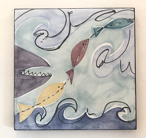 "6"" Square Minnows and Shark Decorative Ceramic Tile B1"