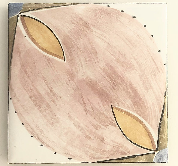 "4 1/4"" Pink Yellow Leaf Decorative Ceramic Tile A1"