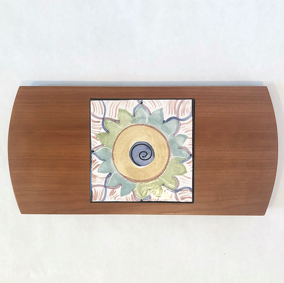 Dahlia Wood & Tile Serving Board
