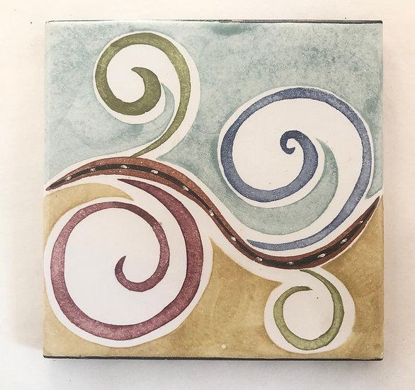 "6"" Square Wave Scroll Decorative Ceramic Tile"