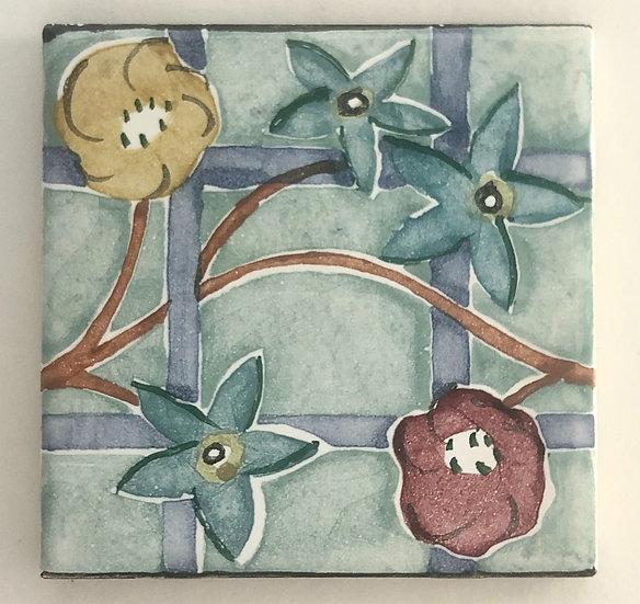 """4 1/4"""" Floral Lattice Decorative Ceramic Tile A10"""