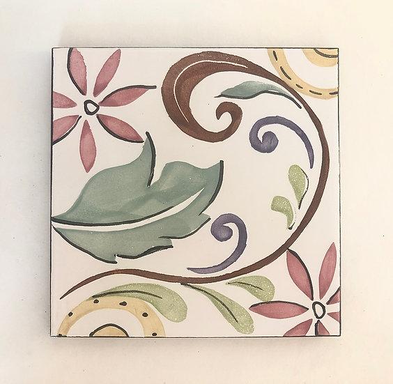 """6"""" Square Fleur de lis Decorative Ceramic Tile A4"""