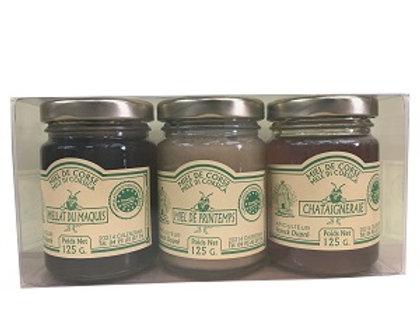 Coffret 3 miels de 125gr AOP Corse Calenzana