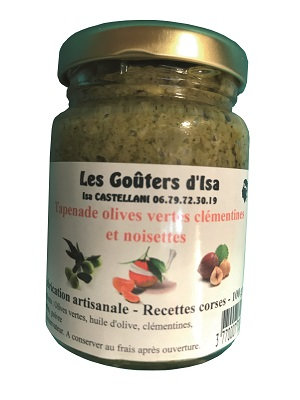 Tapenade olives vertes clémentines et noisettes 100gr