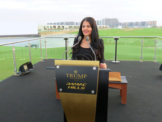 Rania Ali presenting the launch of The Trump International Golf Club & DAMAC Hills in presence