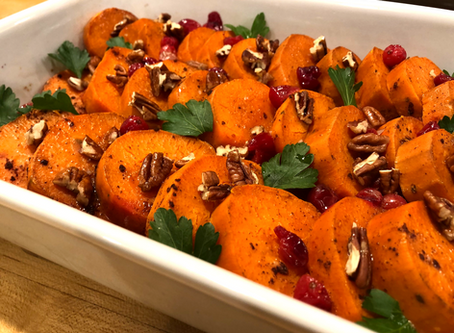 Sweet Potatoes with Cranberries and Pecans