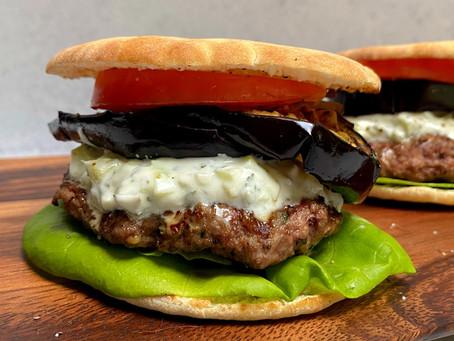 Lamb Burgers with Eggplant and Tzatziki