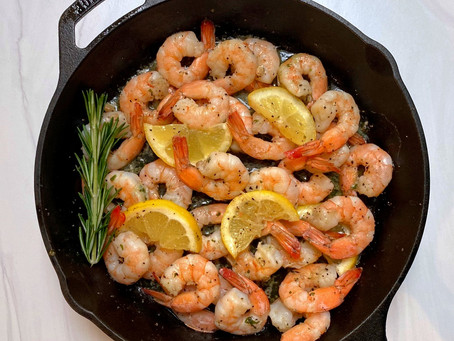 Roasted Cast Iron Shrimp with Herb Butter