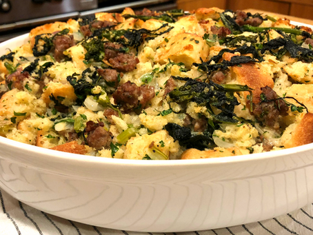 Ciabatta Dressing with Sausage and Broccoli Rabe