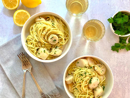 Easy Baked Sea Scallops and Spaghetti