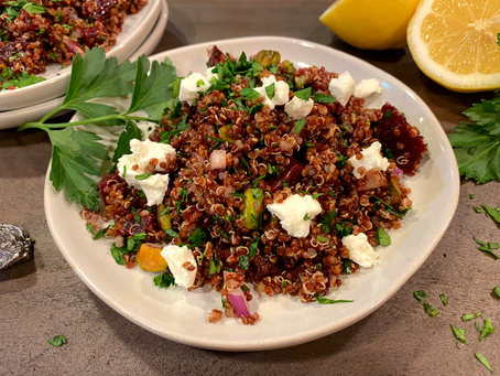 Red Quinoa Salad with Beets and Goat Cheese