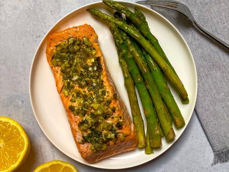 Air Fryer Salmon and Asparagus Dinner