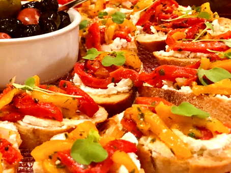 Garlic & Herb Cheese with Roasted Pepper Crostini