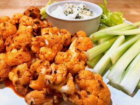 Grilled Buffalo Cauliflower with Blue Cheese Dip