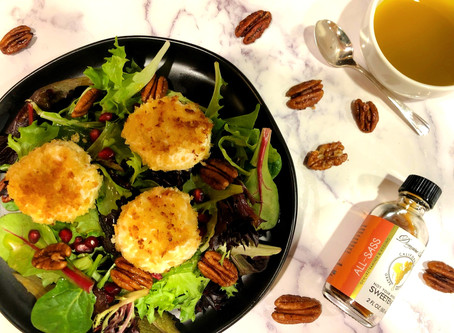 Warm Goat Cheese Salad with Candied Pecans
