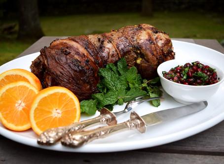 Roasted Lamb with Pomegranate Gremolata