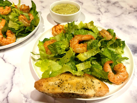 Avocado Caesar Salad with Shrimp