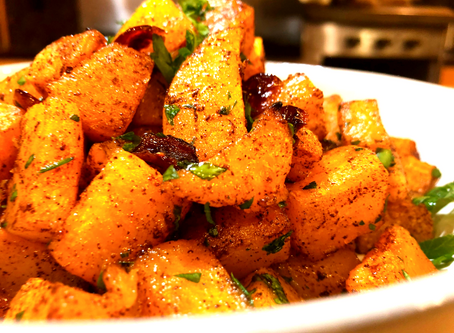 Roasted Butternut Squash with Honey and Cranberries