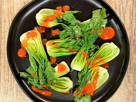 Roasted Bok Choy with Harissa Sauce
