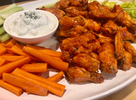 Healthy Buffalo Chicken Wings with Blue Cheese Dip
