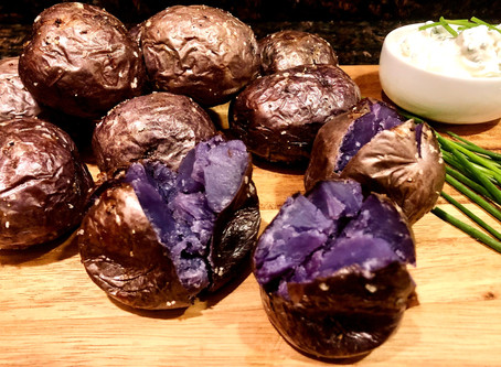 Baked Purple Potatoes with Chive Sour Cream