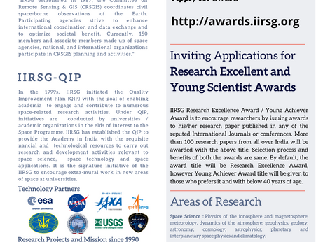 Inviting Applications for Research Excellent & Young Scientist Awards