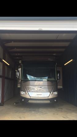 RV parked inside