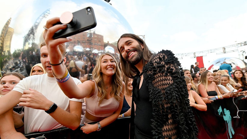 Jonathan Van Ness' 2019 VMAs Outfit Featured A Crocheted Cape & It Was Fabulous