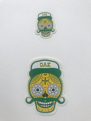 Dia De Los Sticker in Green and Gold