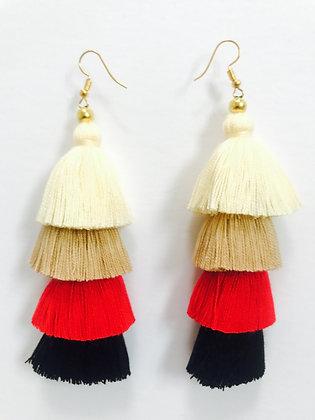 4-Layer Tassel Earrings in 49ers Colors