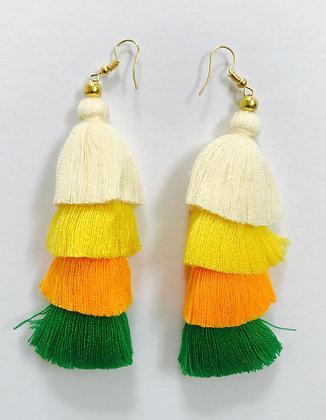 4-Layer Tassel Earrings in A's Colors.