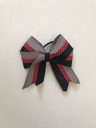 Bow In Gray Red And Black