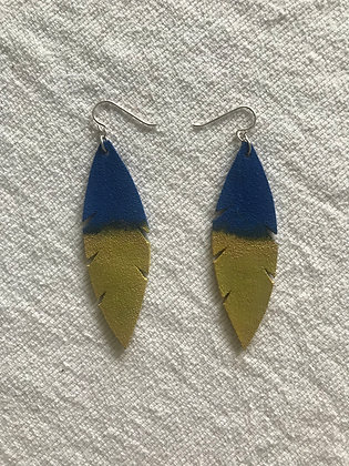 Leather Earrings in Blue and Gold