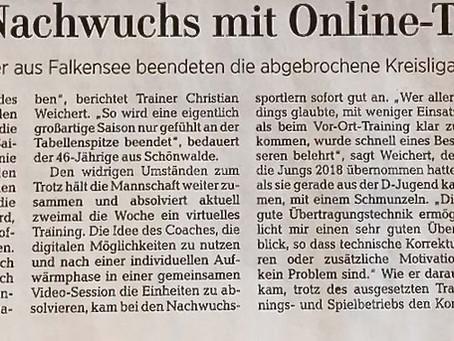 Bericht über das Online-Training unserer C-Jugend in der Märkischen Allgemeinen Zeitung