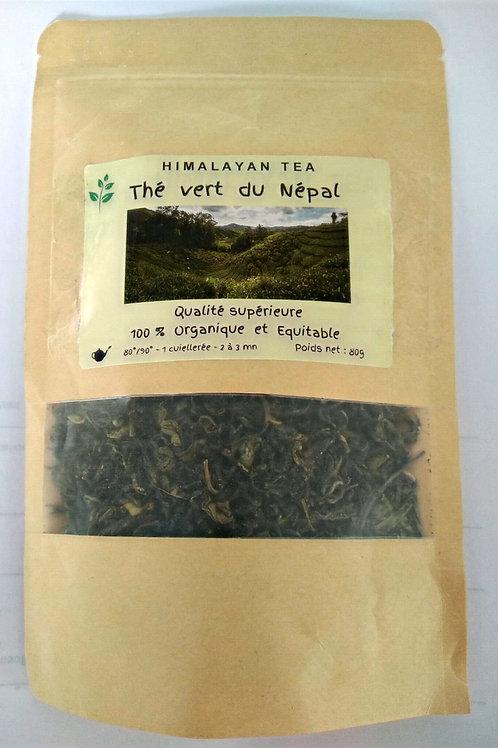 Thé vert organique 80g dans son enveloppe alimentaire zippée.