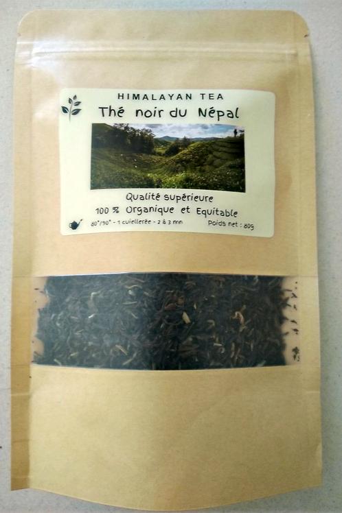 Thé Noir organique 80g dans son enveloppe alimentaire zippée.