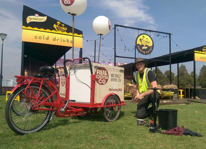 Fridge-Bike Servicing at Melbourne Night Noodle Markets, Birrarung Marr
