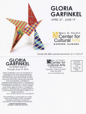 Gloria Garfinkel exhibition at the Mary G. Harding Center for Cultural Arts April 15-June 19, 2016.